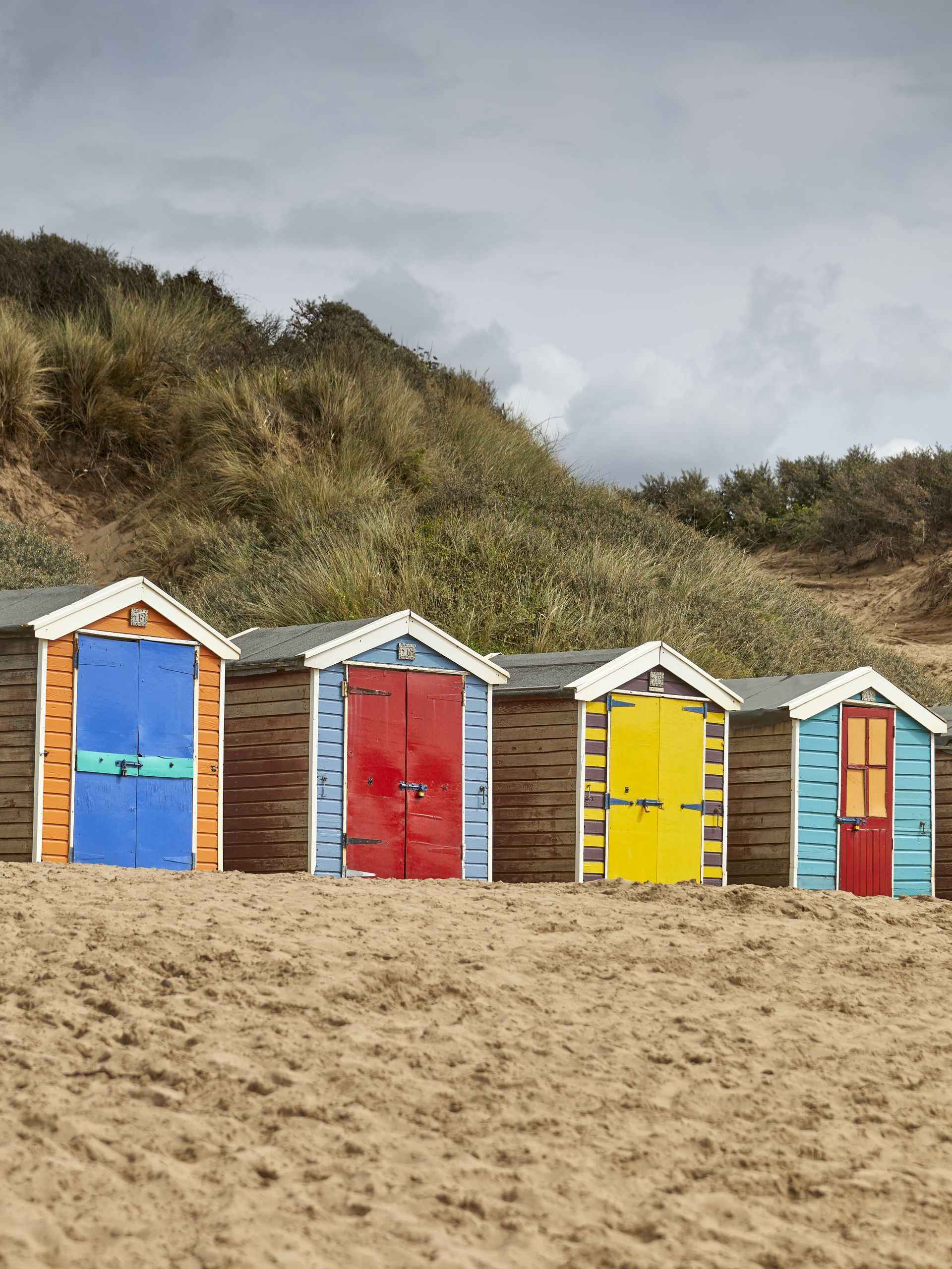 Holiday huts on a Devon beach