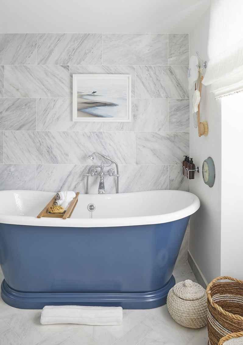 Blue iron bathtub at Mountain Ash House