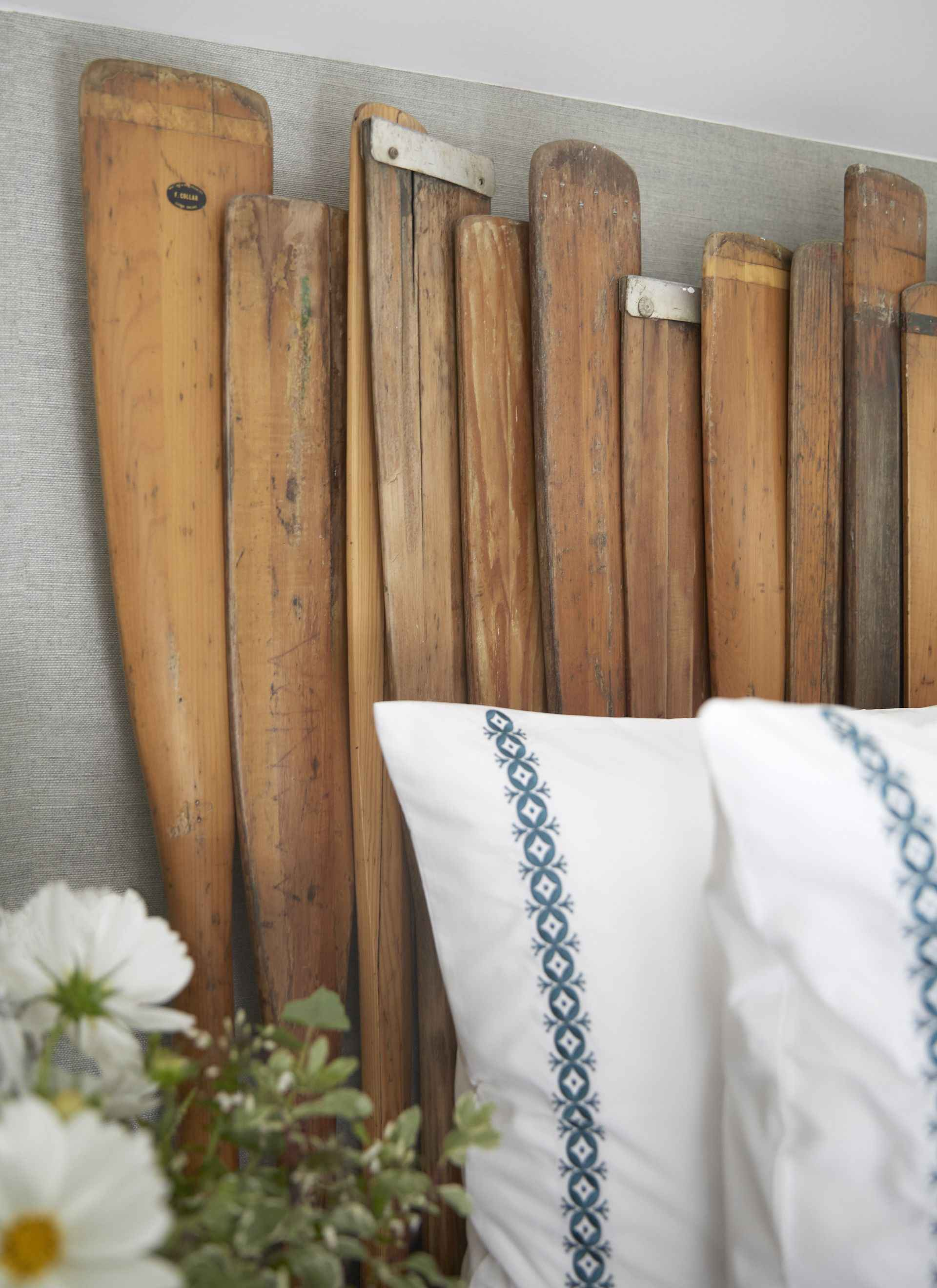 Headboard made from oars at the oar room at Mountain Ash House
