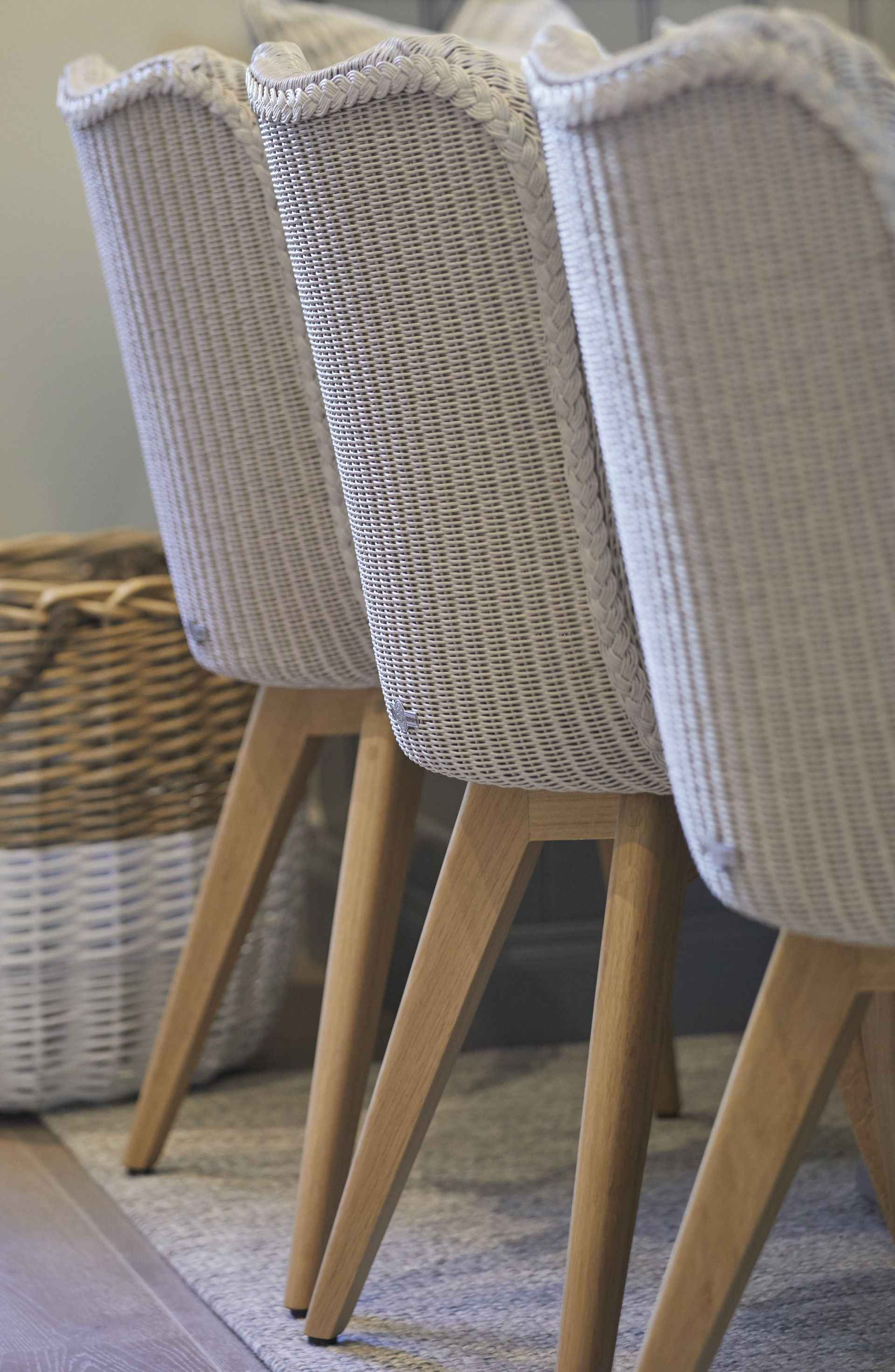 Close up of wicker chairs in Mountain Ash House
